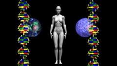 病理病態~がん細胞と遺伝子イメージCG