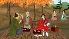 江戸時代の紅葉狩りの様子(歴史CGの作例)