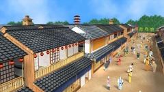 江戸時代の遊郭のCG。俯瞰で街の様子をとらえる(歴史CGの作例)