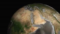 地学分野のCG画像制作事例、地球の海溝と海嶺が見えるCG動画作例