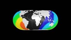 世界地図CG画像上で地震の津波波及の様子を地学的に表現した画像の作例