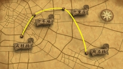 旅の経路を古地図風の質感の三次元CG地図上でトレースしたCG動画作例