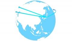 世界地図上で情報が伝搬する様子を描くCG画像