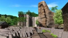 歴史CGの作例。大谷石の採掘現場の当時の様子