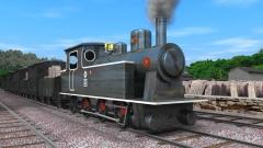 大谷石を運搬する鉄道の蒸気機関車CG