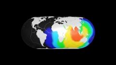 地震と津波の波及イメージCG作例