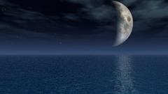 月と海を表現したイメージCG。テレビのイメージショット用CGの作例