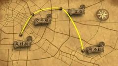 古地図風のCG画像で移動経路を表現したCG。