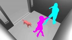 エレベータ内で犬にかまれる事故CG