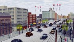昭和初期の自動車と街なみCG