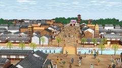 江戸時代の街の様子。歴史イラストの作例